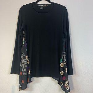 DESIGUAL long sleeve black colorful top